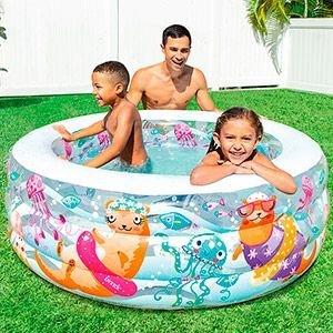 Надувной бассейн Аквариум INTEX Deluxe, надувное дно, от 6 лет, 152х56 см 58480