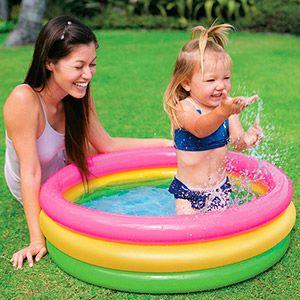 Надувной бассейн радуга, надувное дно, 86х25 см, от 1 до 3 лет