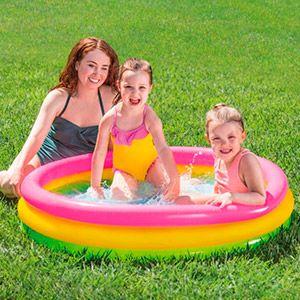 Надувной бассейн радуга, надувное дно, 114х25 см, от 3 до 6 лет
