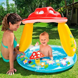Надувной бассейн мухомор, надувное дно и тент, intex, 102х89 см, от 1 до 3 лет