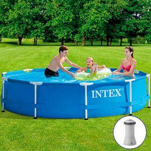 Каркасный бассейн <u>лестница видео для дачи</u> Intex Metal Frame Pool, 305х76см + фильтр-насос, INTEX