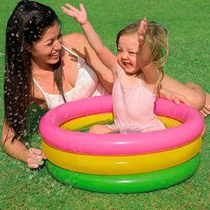 Надувной бассейн радуга, надувное дно, 61х22 см, от 1 до 3 лет