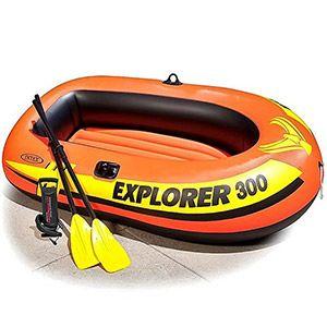 Надувная лодка intex explorer-300 (set), с веслами и насосом, 211х117х41см