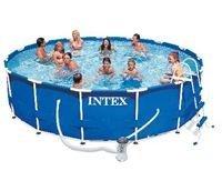 Бассейн каркасный intex metal frame pool, 457х91 см + фильтр-насос + аксессуары