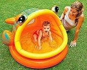 Надувной бассейн ленивая рыбка, надувное дно и навес, 124х109х71 см, от 1до 3 лет